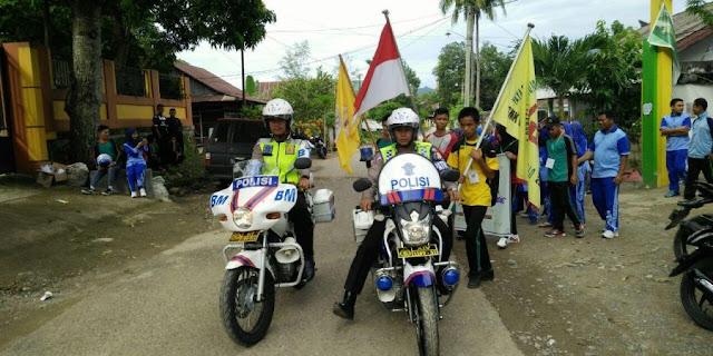 Satuan Lantas Polres Kawal Penbukaan Porseni SMK Latanro Enrekang
