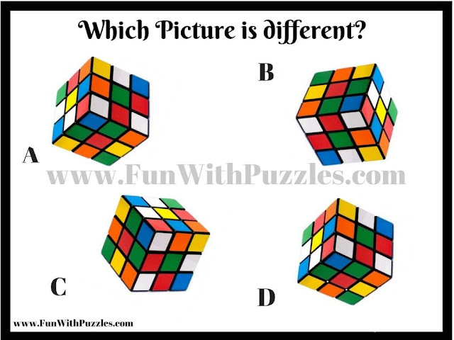 Odd One Out Picture Puzzle of Rubik Cubes
