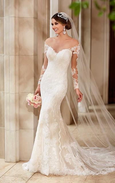 Brautkleid mit Spitzenärmel. Brautkleid mit freiem Rücken. Spitzenkleid figurbetont.