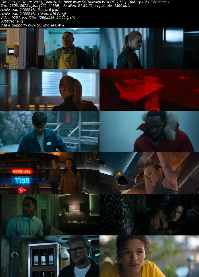 Escape Room (2019) Dual Audio Hindi ORG 480p BluRay 300MB ESubs