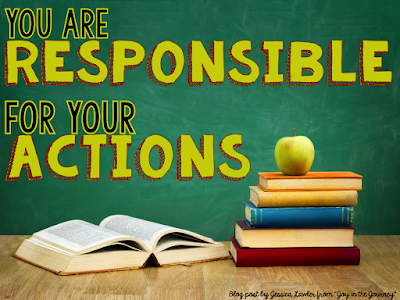 "Photo of chalk board and books, with ""You are responsible for your actions"" on the board."