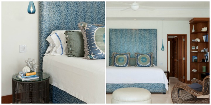 Coastal aqua and white modern beach house bedroom