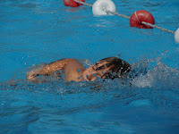 Image of a child swimming in a lane at the pool:school swimming sports