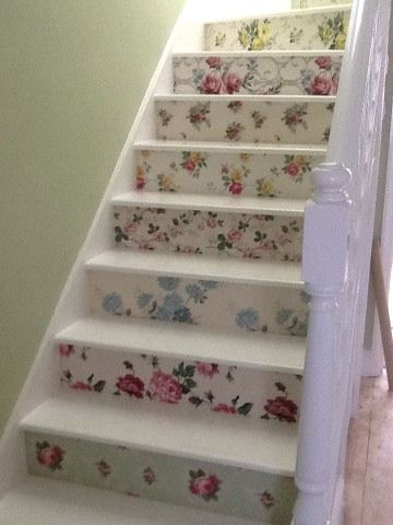 Floral wooden staircase