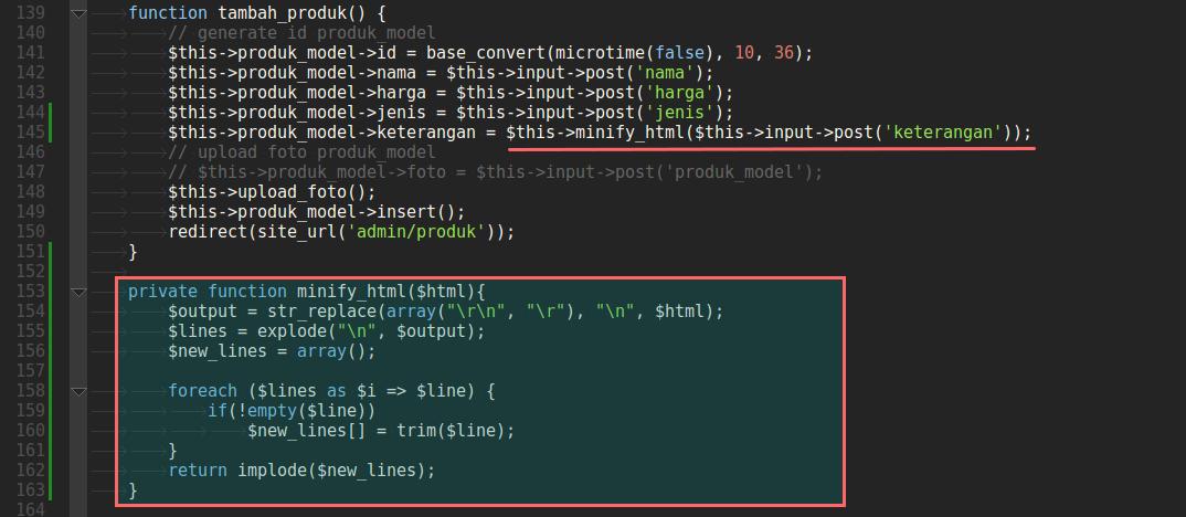 Penerapan Kode untuk menghilangkan whitespace di Codeigniter