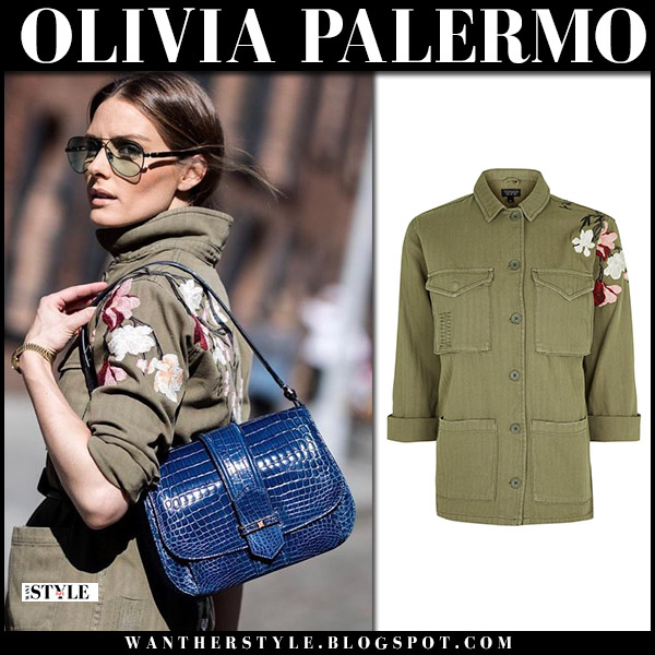 Olivia Palermo in khaki green canvas floral jacket topshop with blue bag analeena street style june 2018