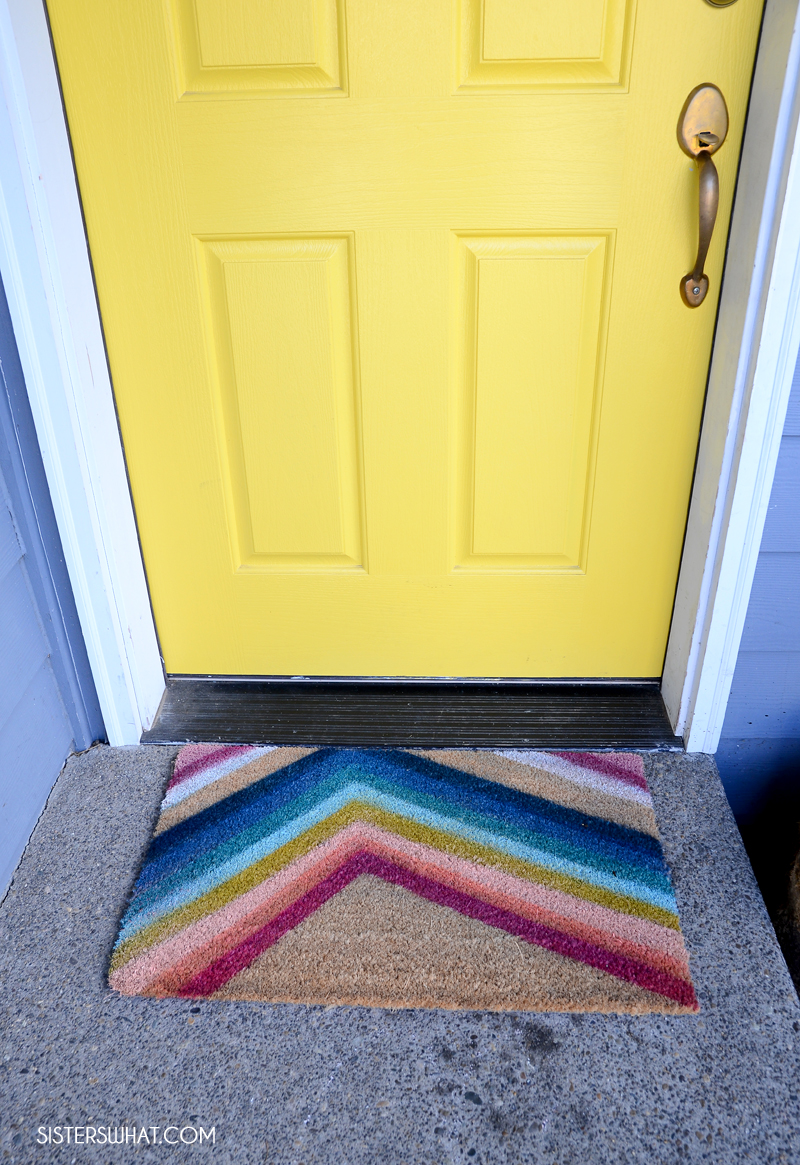 how to diy colorful doormat with yellow door