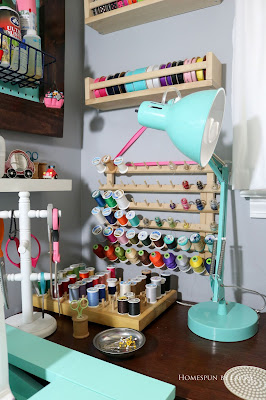 One Room Challenge Week 6 Home Office Sewing Craft Room Transformation sewing machine thread ribbon organization