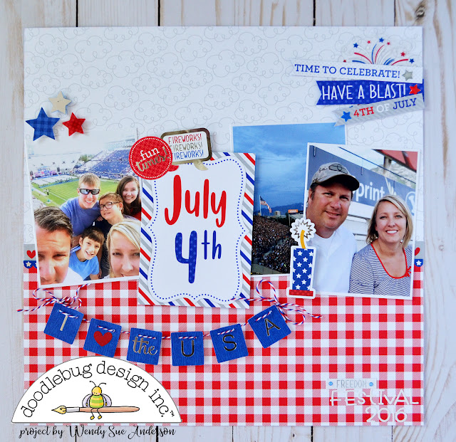 "July 4th layout by Wendy Sue Anderson with the ""Yankee Doodle"" collection by Doodlebug Design, based on a PageMaps sketch by Becky Fleck"