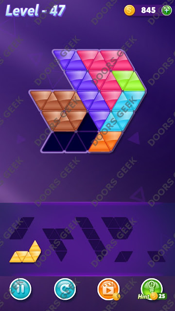 Block! Triangle Puzzle 7 Mania Level 47 Solution, Cheats, Walkthrough for Android, iPhone, iPad and iPod