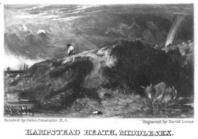 Hampstead Heath - an engraving by David Lucas  from Memoirs of the Life of John Constable by CR Leslie (1845)