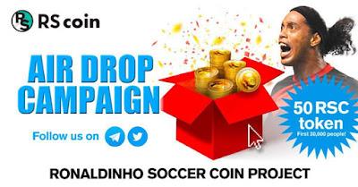 Ronaldinho Soccer Coin – airdrop pagando $ 13 em tokens RSC
