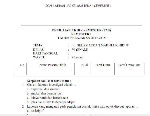 Contoh Soal UAS Kelas VI Semeester 1 Tema 1 Kurikulum 2013