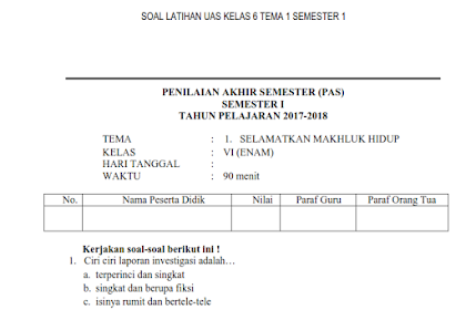 Soal UAS Kelas 6 Semester 1 Tema 1 Kurikulum 2013