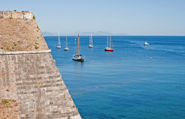Old Fort. View from the sea to the south. Kerkira. Corfu. Greece. Старая крепость. Вид с юга с моря. Керкира. Корфу. Греция.