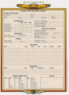 Earthdawn 4 edition character record sheet