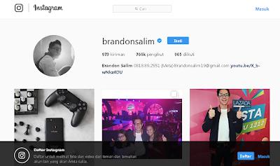 Akun Instagram Brandon Salim