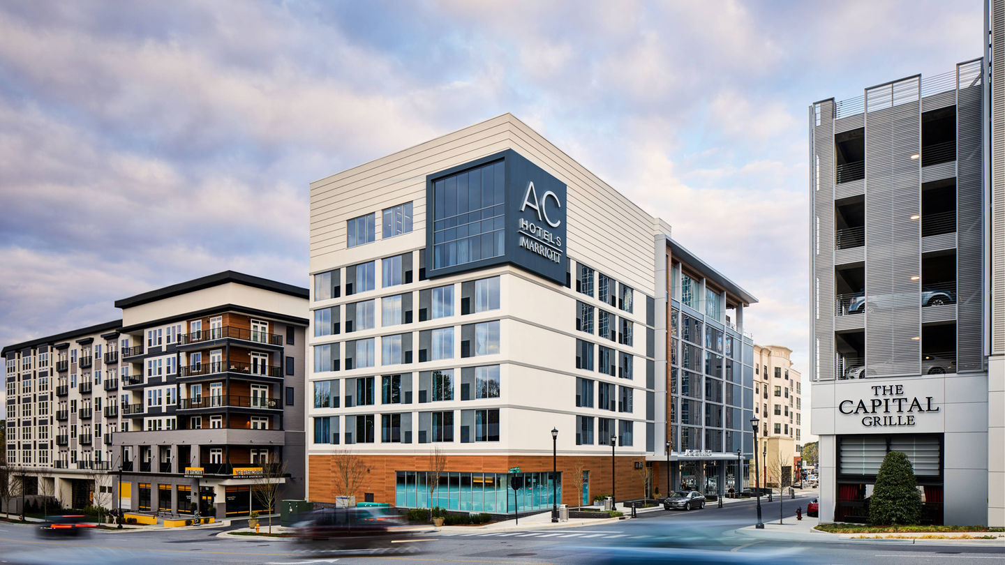 The Ac Hotel Raleigh Is Located In Bustling North Hills An Area Called Midtown