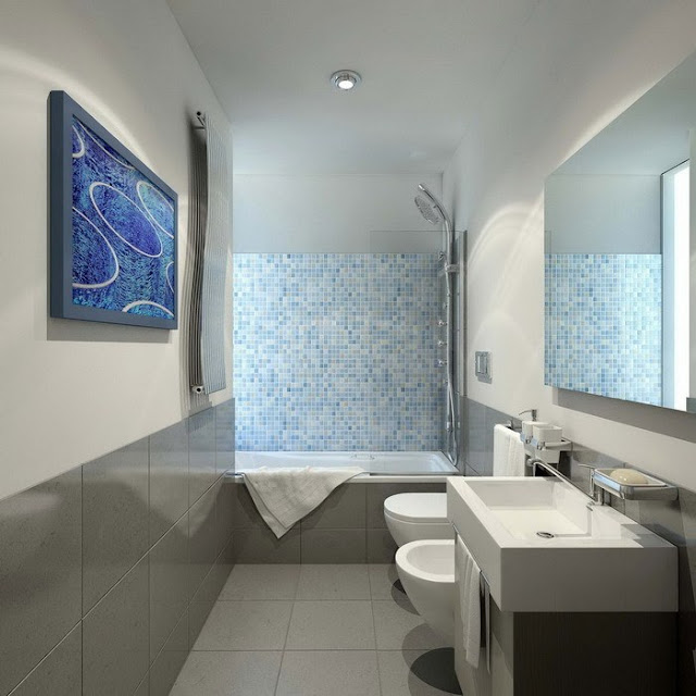 welcoming modern bathroom with pictures on the wall