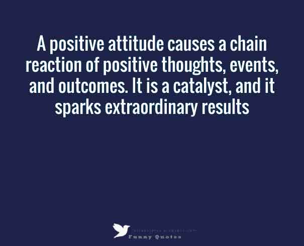 A postive attitude causes a chain reaction of positive thoughts, events and outcomes, it is a catalyst, and it sparks extraordinary results.