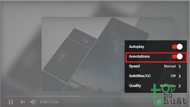 Tắt toàn bộ chú thích Youtube