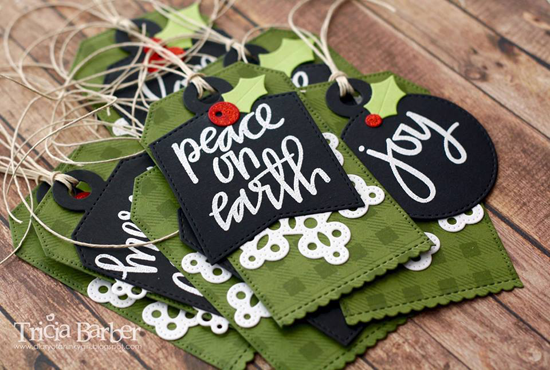Hand-Lettered Christmas stamp set, Pierced Traditional Tag STAX, Stitched Scallop Basic Edges, and Tag Builder Blueprints 4 Die-namics - Tricia Barber #mftstamps