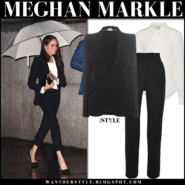 Meghan Markle in black suit jacket, white shirt and black cropped pants alexander mcqueen royal family style february 1
