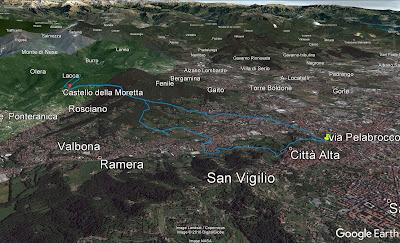 Walking route from Fontana del delfino (Bergamo) to Ponteranica (Trattoria del Moro).