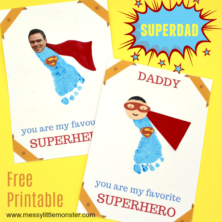 Printable Superhero Father S Day Card To Make For Superdad Messy
