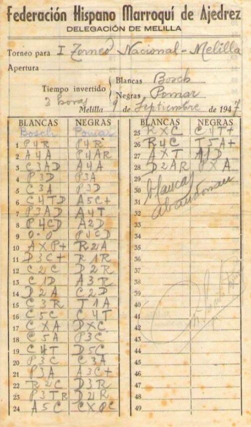 Planilla de la partida de ajedrez Bosch - Pomar, I Torneo Nacional de Melilla 1947