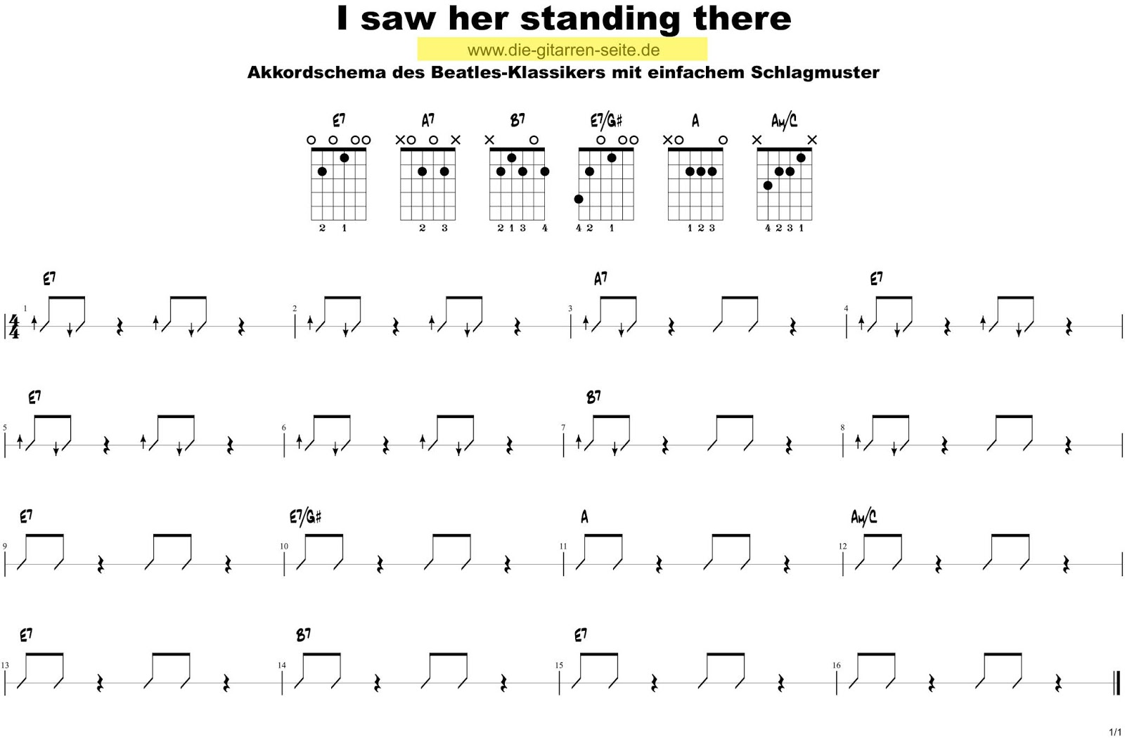 Die Gitarren Seite I saw her standing there Chords Strumming