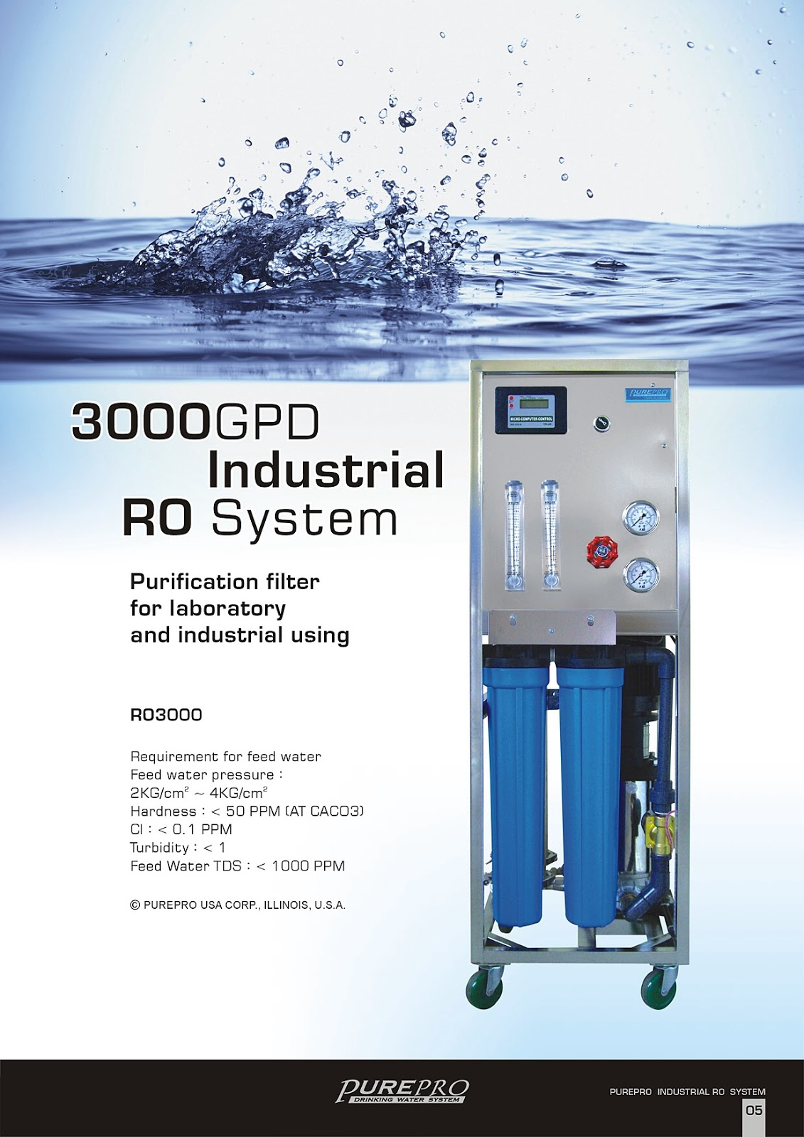 PurePro® RO3000 Industrial Reverse Osmosis Water Filter System