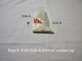 Step 9. Fold Side A bottom corner up.