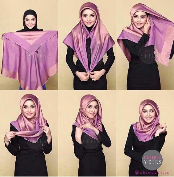 Cara Memakai Hijab Segiempat Saudia