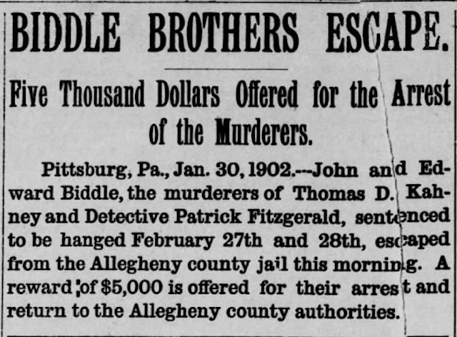 Genealogy: Pittsburgh Newspaper Article on Biddle Brothers' Escape