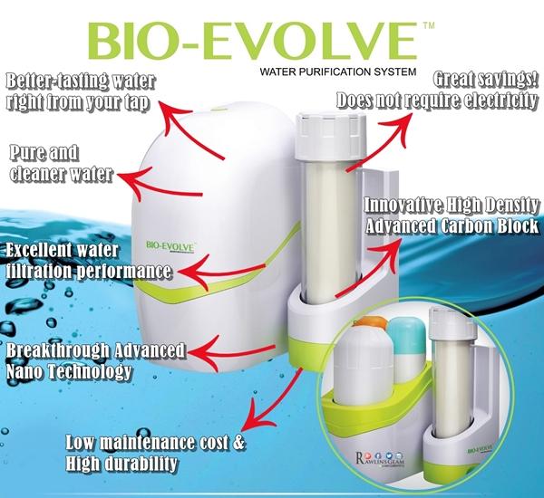 Bio Evolve, Bio EvolveTM Water Purification System, water filter, penuras air, air selamat diminum, penapis air murah, penapis air selamat, penapis air jimat tenaga, byrawlins