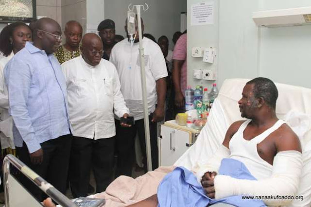 Akufo-Addo visits La gas explosion victims [Photos]