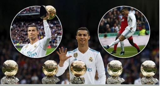 Cristiano Ronaldo poses with his five Ballon d'Or trophies at Bernabeu before netting his 50th goal of the year (Photos)