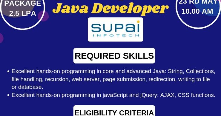 SUPAI Infotech Open Campus Drive for Java Developers | Bangalore