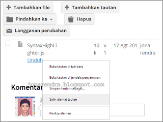 Upload file di Google Site jonarendra