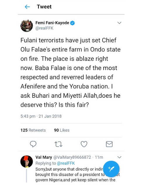 Breaking News: Fulani Herdsmen Sets Chief Olu Falae's Entire Farm In Ondo State On fire