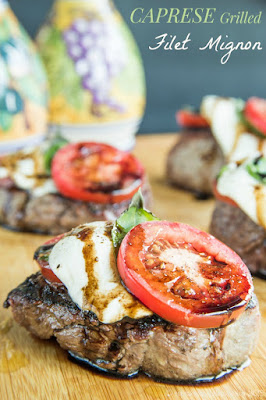 Caprese Grilled Filet Mignon from Cupcakes and Kale Chips featured for Low-Carb Recipe Love on Fridays (8-26-16) found on KalynsKitchen.com
