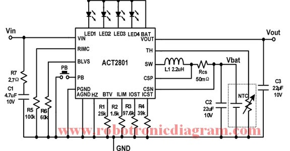 circuit diagram high efficiency and battery protection power bank using act2801 ic