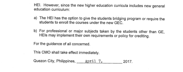 "Because of the changes in Philippine education system shifting to K to 12 program. high school graduates before the year 2016 could be affected greatly if they don't enroll in college or finish their college program by 2018. College institutions might eventually require them to comply and take bridging courses or take additional subjects to comply with the new curriculum.       According to Patriacia Licuanan, CHED (Commission on Higher Education) Chairperson,   ""First of all, we do have as part of our transition plan, we will allow students who are out of school and those who have graduated before 2016, this is your last chance, get into college now. And that's why we're going through some kind of a campaign to encourage those who are truly interested to go to college, or may not be interested right now but given this opportunity might change their minds.""   ""Now is really the best chance to go back to college...by next year, lifelong learners who would want to continue their undergraduate studies will face more requirements in going back to school, as colleges and universities may require them to take bridging programs or additional subjects in line with the competencies required in the new GE (general education) curriculum.""   The K to 12 program will be fully implemented by school year 2018-2019.    Licuanan also said that because of financial pressures, they will be offering ""FREE TUITION"" in state universities and colleges and will provide scholarships to eligible students. This program has an allotted P 8.3 billion.     ""We fully recognize the financial constraints that hamper our lifelong learners from pursuing their education,"" Licuanan said. ""As such, we will be implementing a free tuition scheme in our SUCs this year and continue to provide scholarship programs to eligible students. These interventions underline our efforts and commitment here at CHED to provide wider access to quality higher education nationwide.""   The diagram below from CHED should be able to guide students who are out of school.       Students who graduated high school before 2016 and who are currently out of school or college, does not necessarily need to attend senior high school. However as Licuanan said, they might be required by the college or university to take more subjects or to attend a bridging program.    The following is an excerpt from the CHED Memorandum No. 10 of 2017"