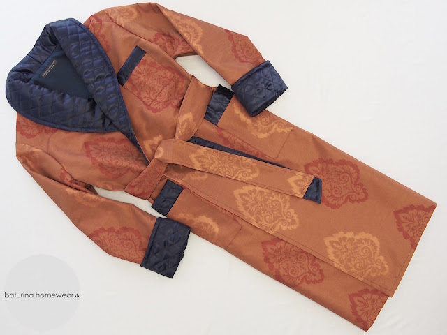 classic luxury cotton men dressing gown sulka quilted lapel traditional victorian dress robe orange blue long silk lined