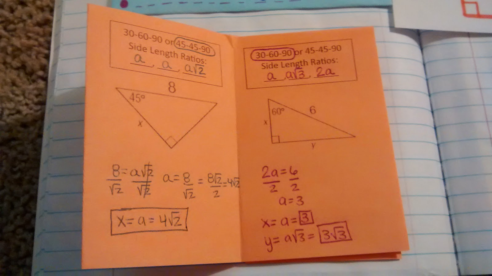 Math Love Trig Interactive Notebook Pages For Unit 1