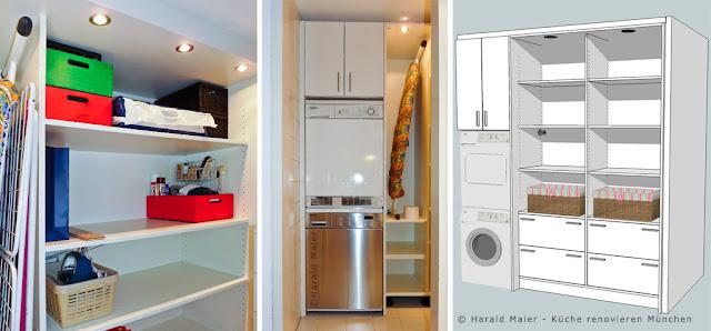wir renovieren ihre k che einbauschrank f r waschmaschine und trockner. Black Bedroom Furniture Sets. Home Design Ideas