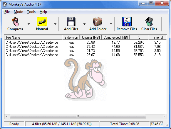 Monkey's Audio comprimere file audio WAV