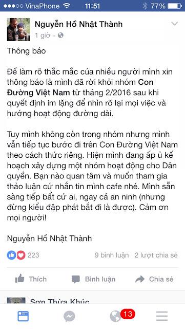 Thêm một thành viên ly khai Phong trào Con đường Việt Nam!