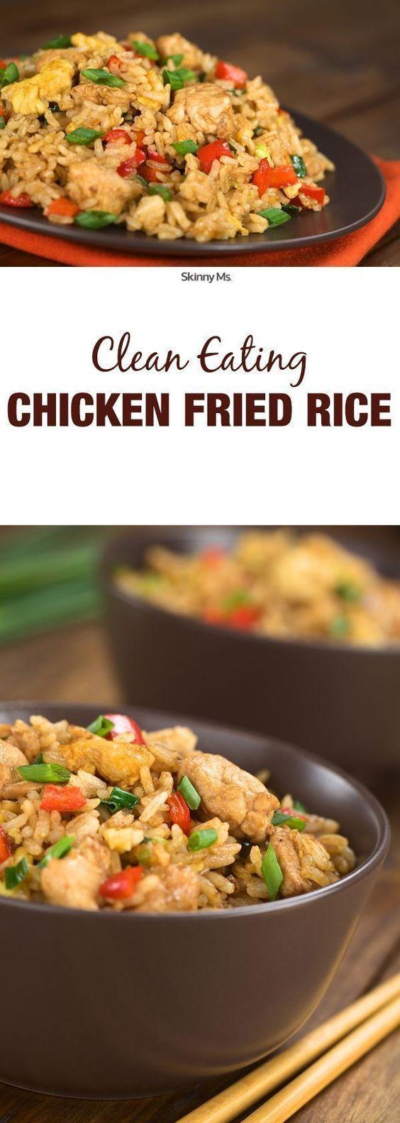 Clean Eating Chicken Fried Rice #chicken #chickenrecipes #chickenfriedrice #friedrice #lunchideas #lunchrecipes